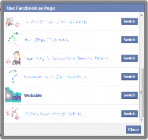 Use Facebook as Page switcher