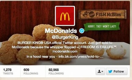 Burgerking's Twitter banner - post hacking