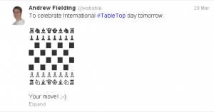 A tweet for International Table Top Day