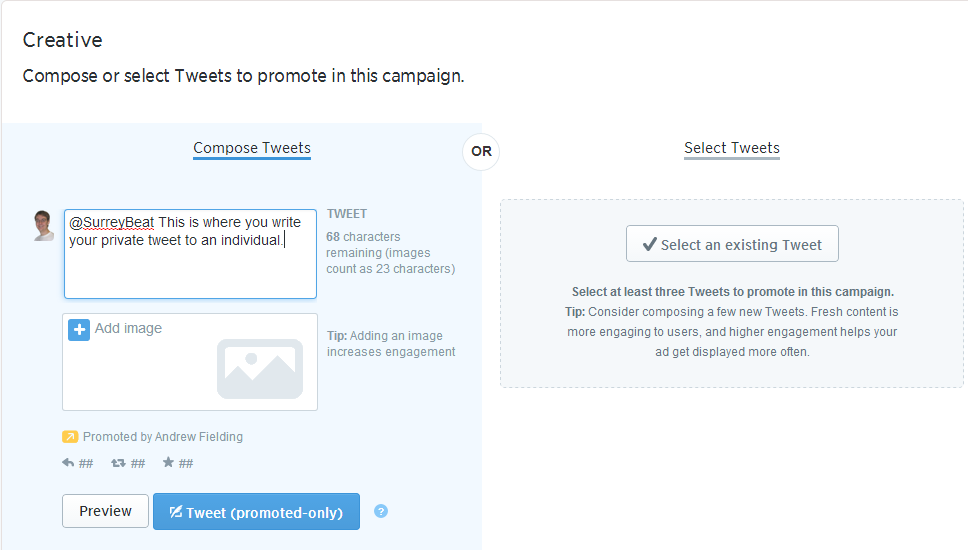 Creating a Twitter Ad